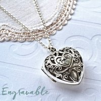 Sterling Silver Vintage Heart Locket Necklace, Silver
