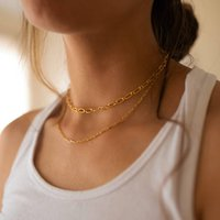 18k Gold Thick Link Chain Necklace Set, Gold