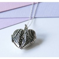 Personalised Angel Wing Sterling Silver Locket, Silver