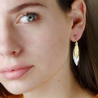 Sterling Silver And Gold Feather Earrings, Silver