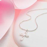 Childs Sterling Silver Cherish Cross Necklace, Silver