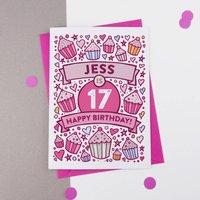 17th Birthday Card Cupcake Personalised