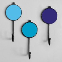 Blue Colourful Robe Hanger Coat Wall Bathroom Hooks, Bluebonnet/Sapphire/Blue
