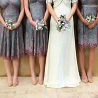 Bespoke Lace Bridesmaids Dresses In Pink And Aqua, Pink