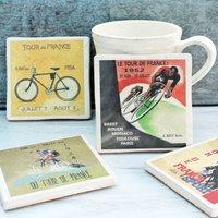 Set Of Four Ceramic Tour De France Cycling Coasters