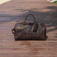 Genuine Leather Worn Look Weekend Bag