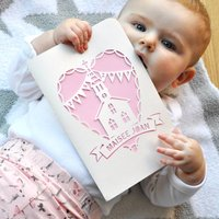 With Love, Christening Papercut Card