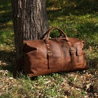Zip Detail Genuine Leather Holdall