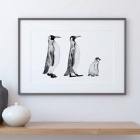 Monochrome Penguins Print