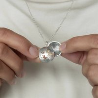 Silver And Gold Butterfly Fingerprint Locket, Silver