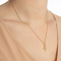 24 Ct Gold Vermeil White Sapphire Cross Necklace, Gold