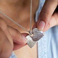 Silver Fingerprint Heart Locket Necklace, Silver