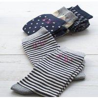 Set Of Four Women's Monogram Socks