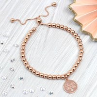 Rose Gold And Diamond Personalised Ball Bracelet, Gold