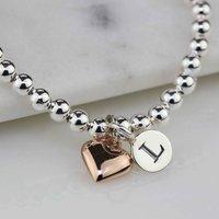 Personalised Skinny Bead Bracelet With Heart Charm