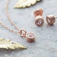 Gemstone White Topaz Rose Gold Jewellery Gift Set, Gold