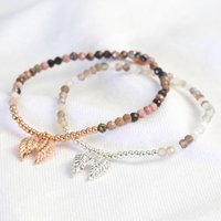Stone Bead And Wing Charm Bracelet