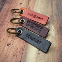 Personalised Leather Key Fob, Brown/Black/Tan
