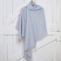 Cashmere Mix Giant Wrap, Blush/Grey/Pale Blue