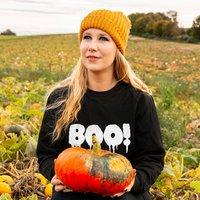 Boo! Halloween Unisex Sweatshirt Jumper, Black/White