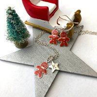 Gingerbread Man Necklace And Earrings Set