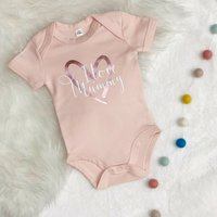 I Love Mummy Rosegold Heart Pink Babygrow