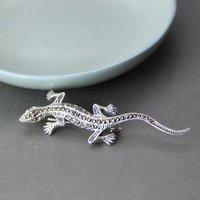 Sterling Silver Lizard Gecko Marcasite Brooch, Silver