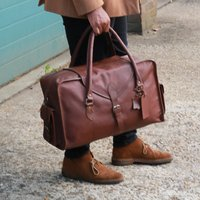 Globe Trotter Water Resistant Leather Holdall Pecan