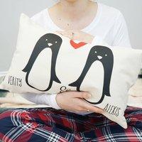 Personalised Penguin Couple Cushion