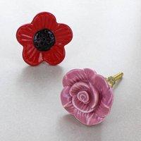 Rose Poppy Flowers Ceramic Door Knobs