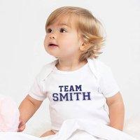 Team Surname Personalised Baby Grow, Light Pink/Pink/Dark Pink