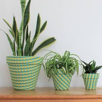 Green And Yellow Pattern Fabric Covered Plant Pot