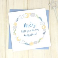 Personalised Be My Godfather Card, Grey/Pink/Blue