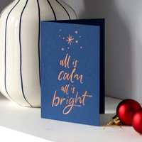 'All Is Calm All Is Bright' Letterpress Christmas Card