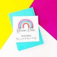 Personalised Rainbow Christening Card