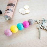 Colourful Felt Ball Key Ring