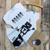 Personalised Robot Baby Boy Gift Set, White