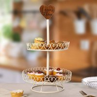 Personalised Country Heart Two Tier Cake Stand