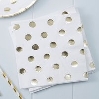 White And Gold Foiled Polka Dot Paper Napkins