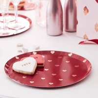 Rose Gold Foiled Valentines Heart Plates