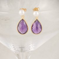 Freshwater Pearl And Gold Amethyst Drop Earrings, Gold