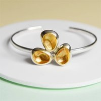 Sterling Silver Open Bangle With Gold Hidden Treasure, Silver