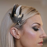 Feather Hair And Coursage Clips 'Molly', Pink/Silver/Blue