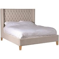 Upholstered Beige Linen 6ft Super King Size Bed