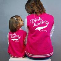 Personalised Pink Ladies Varsity Jacket Set