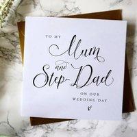 To My Mum And Step Dad Wedding Card, White/Cream/Baby Blue