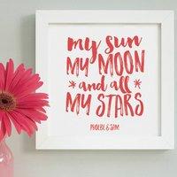 Personalised Valentine Sun, Moon And Stars Framed Print
