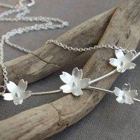 Handmade Silver Sakura Blossom Branch Necklace, Silver