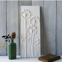 Allium And Poppies Plaster Cast Wall Plaque