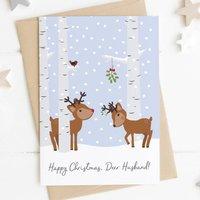 Happy Christmas, Deer Husband / Wife Personalised Card